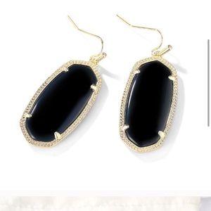 Kendra Scott Black/Gold Drop Earrings